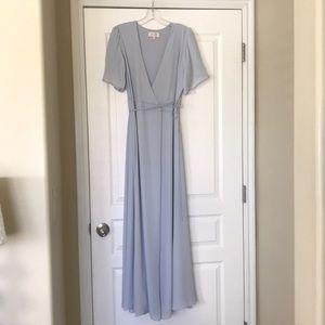 Gorgeous blue maxi wrap around dress